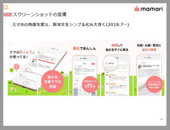 ママリ:スクリーンショットの変遷。スマホの角度を変え、訴求分をシンプル化&大きく(2018.7~)