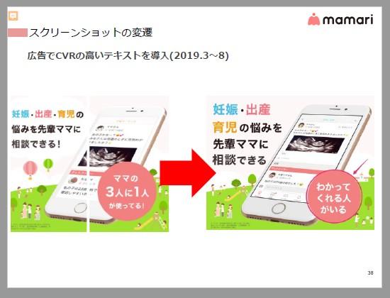ママリ:スクリーンショットの変遷。広告でCVRの高いテキストを導入(2019.3~8)