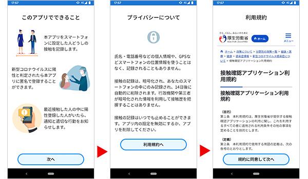 接触確認アプリ。インストール後の作業。アプリの説明画面、プライバシーについて、利用規約